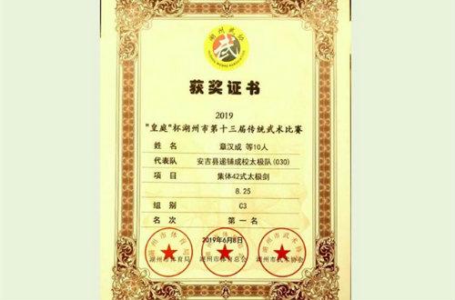 安吉社区教育学院递铺分院太极拳班获湖州市传统武术比赛第一名